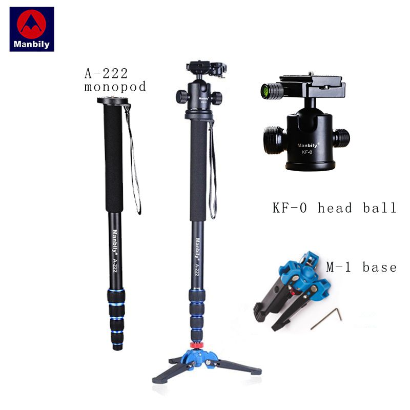 Manbily A-222 165cm/65 Portable Professional DSLR Camera Monopod&M-1 Base head ball Mini tripod Stand For Canon Nikon phone DV aluminium alloy professional camera tripod flexible dslr video monopod for photography with head suitable for 65mm bowl size
