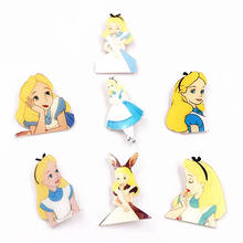 1Pcs Cartoon Princess Alice Girls Acrylic Badge Brooch Clothes Icons on The Backpack bags scarf Brooches Pins Kids Party Gift(China)