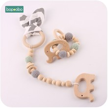 Bopoobo Baby Rattle 2pc Cotton Bunny Ear Teething Bracelet Set Can Chew Toys For Newborns Crochet Beads Stroller Toy(China)