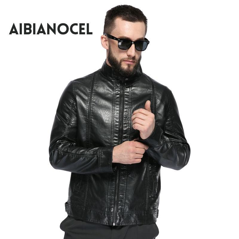 AIBIANOCEL vadonatúj férfi férfi műbőr kabát fekete bőrkabát férfi férfi bőr kabát motorkerékpár 2017 bőr kabát férfi