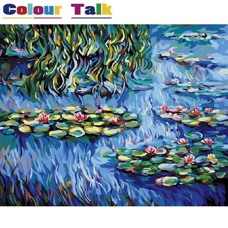 Colorear por números pintura caligrafía imágenes papel pintado pintura al óleo de DIY por números en la lona dibujo Claude Monet P-0011