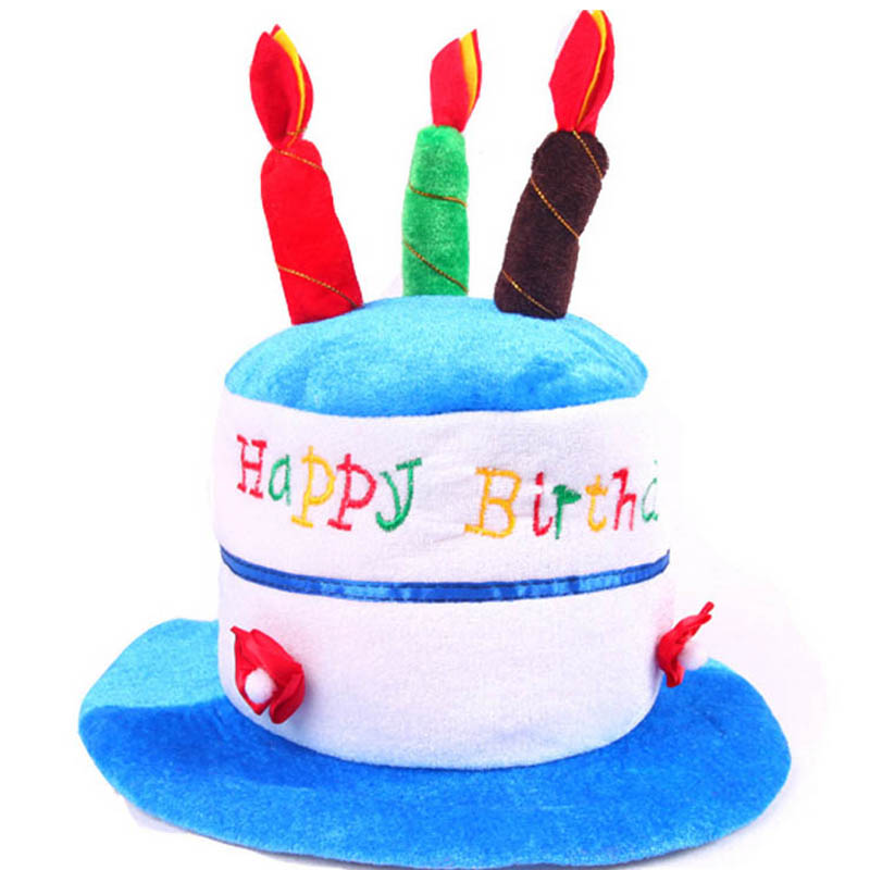 Happy Birthday Hat Soft Plush Cake Candles Caps For Children Boys Girls Party Dress Decoration Halloween