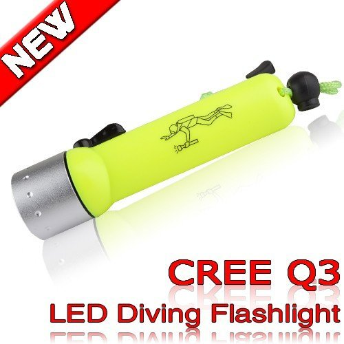 250 Lumens CREE Q3 LED Diving Flashlight underwater torch submarine light waterproof  lamp use Diving about 20 meters  QS01