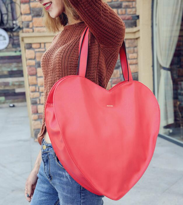 Hot Red Heart Shape Women Hand Bag PU Leather Bags Handbags Large Luxury New Fashion Girls
