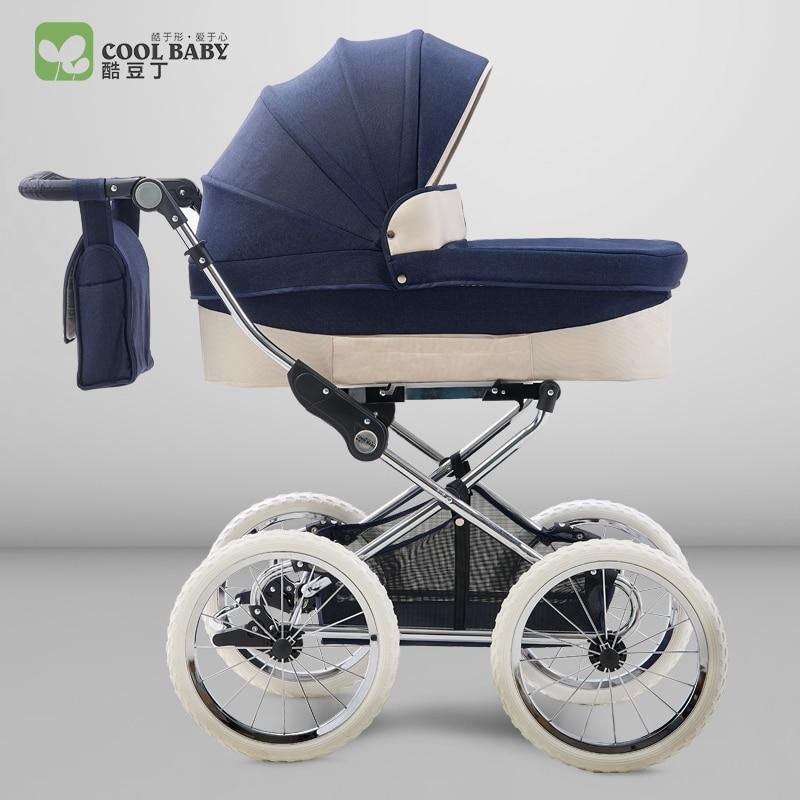 Королевский типа круто для Европейский королевский коляска детская Двусторонняя подвеска Высокая Пейзаж тележка Детские четыре колеса те