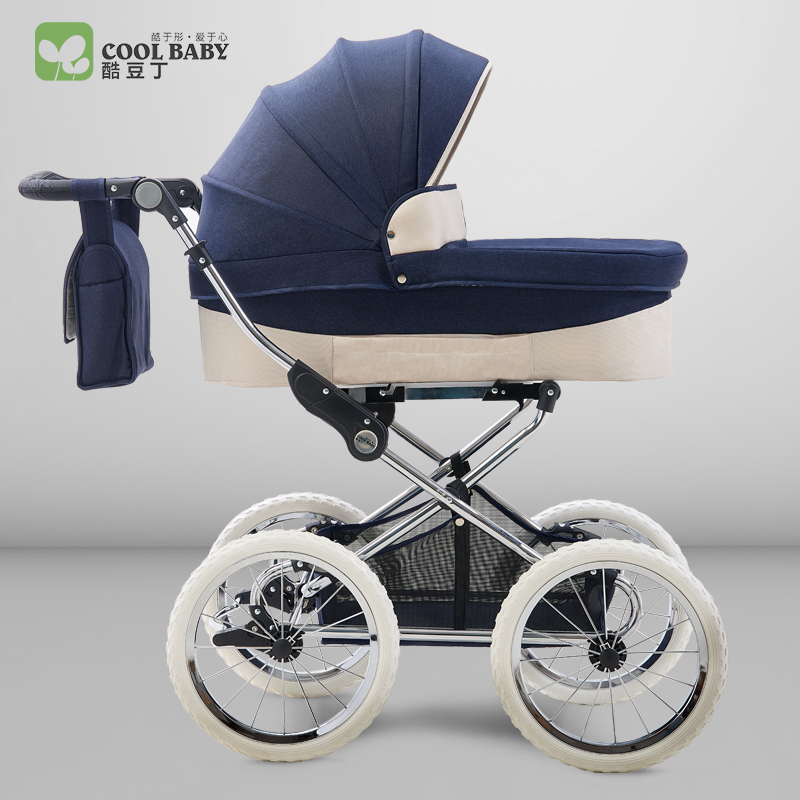 Royal type Cool baby European royal stroller baby two-way suspension high landscape trolley baby four wheel trolley send bag real multi functions julius women s watch isa quartz hours fine fashion dress bracelet sport leather birthday girl s gift box
