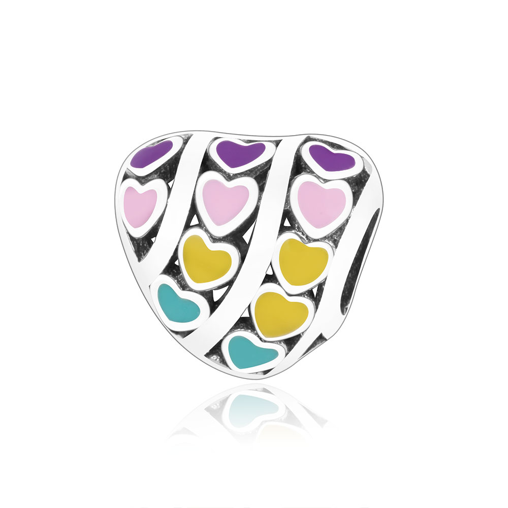 Colorful Enamel Heart Charm Bead Fit Original Pandora Charm Bracelet 925 Sterling Silver Jewelry 2018 Spring Collection Berloque