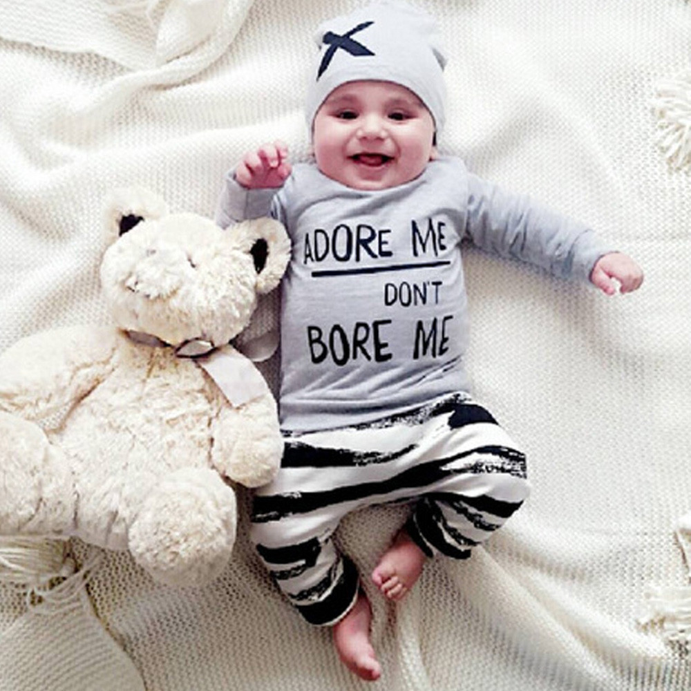 pring Autumn baby Boys Girls Clothing Sets Newborn Long Sleeve Letter Print Tops+Pant+Cap Outfits Clothes Set Dont Bore Me cute