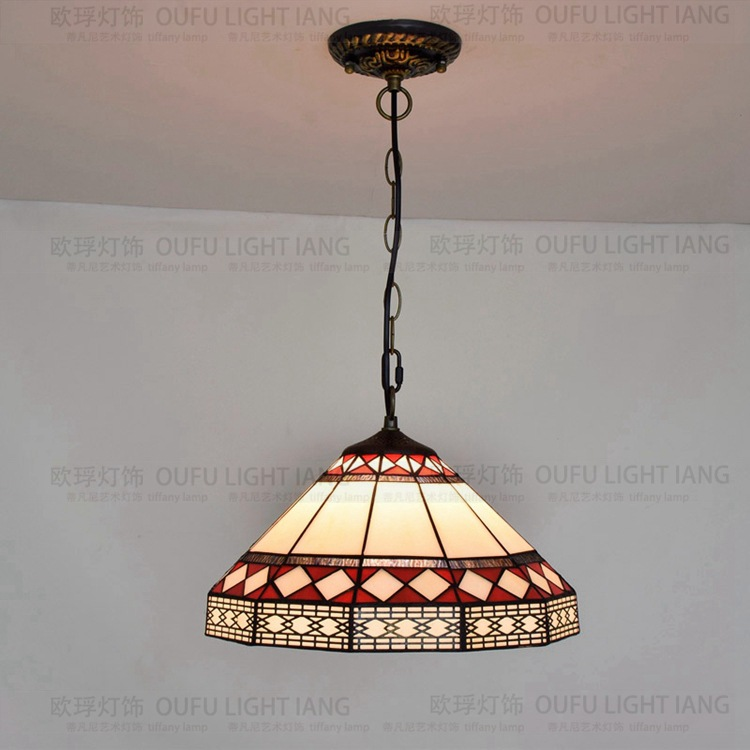 14inch Tiffany Baroque Stained Glass Suspended Luminaire E27 110-240V Chain Pendant Lights For Home Parlor Dining Bed Room