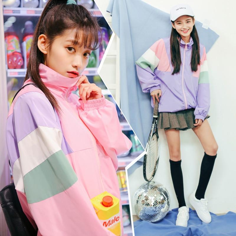 2017 Women s Harajuku Ulzzang Maccaron Fight Block Color Loose Jacket Female Cute Japanese Kawaii Bomber