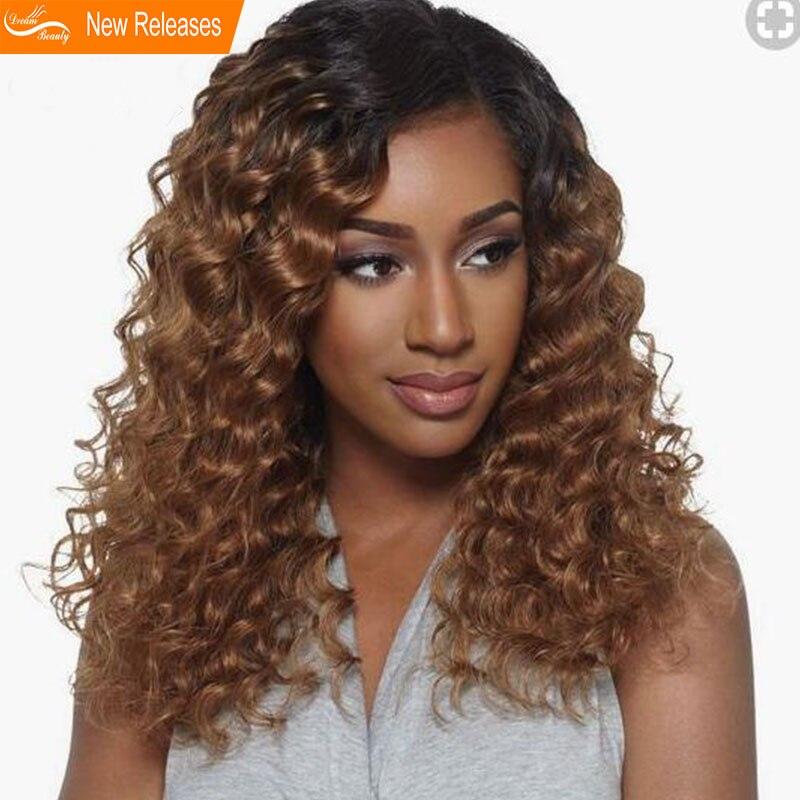 Мечта красота Glueless 150% плотность странный вьющиеся синтетические волосы на кружеве натуральные волосы Искусственные парики предварительно...
