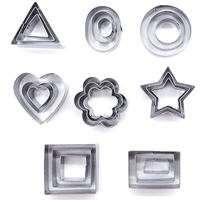 24Pcs/Set Stainless Steel Cookie Cutters Set Geometric Shape Biscuit Mold DIY Cake Ring Vegetable Fruit Cutter Biscuit Tool