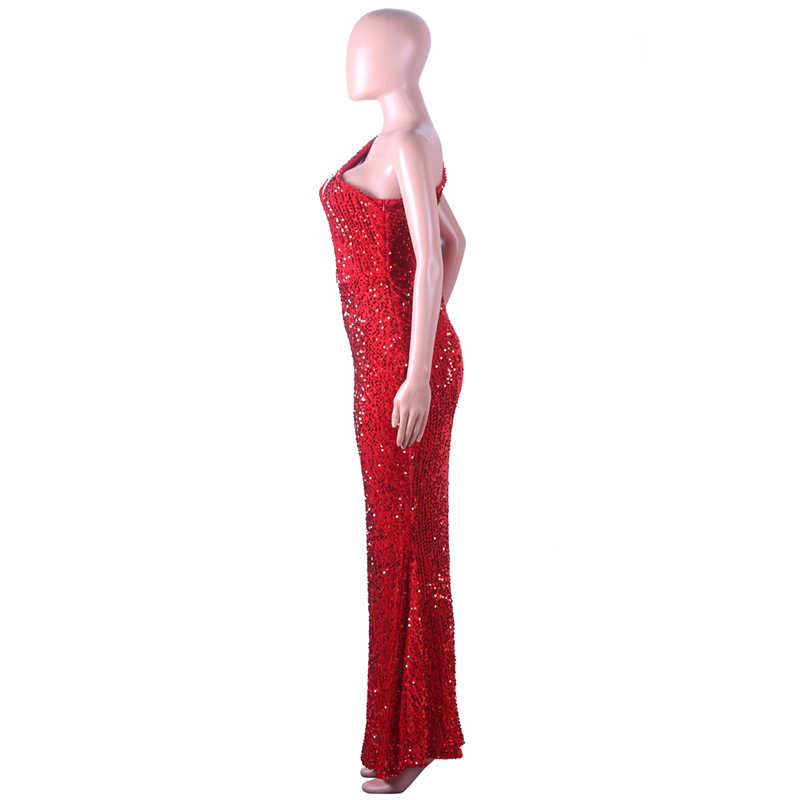 c2a24aa169 Adogirl Red Sequins One Shoulder Evening Party Dress Hollow Out Sleeveless  Bodycon Mermaid Maxi Club Dress Robe Long Vestidos