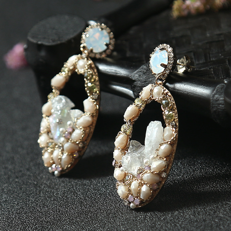 Natural straight pearl Crystal earrings contracted accessories female temperament