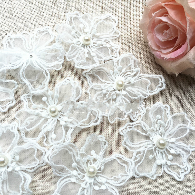 20 Pcs/lot White Organza Embroidery Fabric Lace Patch Trim Clothes 3d Beading Flower Wedding Dress Diy Applique Sm146 High Quality And Inexpensive Apparel Sewing & Fabric