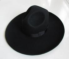 Men's 100% Woolen Fedoras Hat Wide Brim Oversize 12cm Woolen Hat Fashion Black Wool Felt Fedora Woolen Cap Equestrian Hat B-8127 [available from 11 11]hat woolen hat canoe4706101
