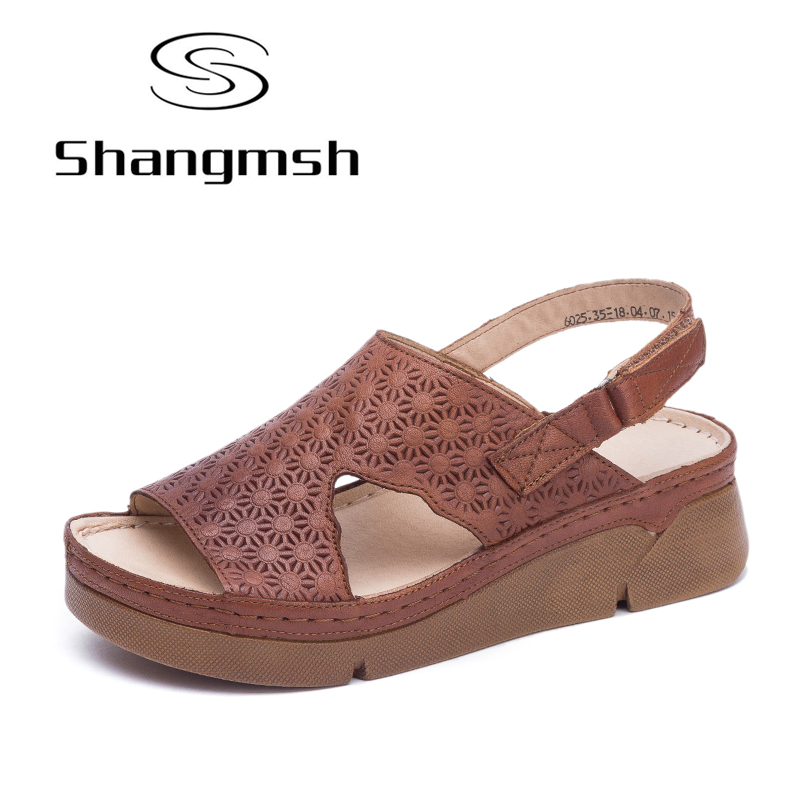 Shangmsh Gladiator Sandals Women Print Solid Wedge Sandals 2018 Genuine Leather High Heel Shoes Ladies Summer Platform Sandal new 2018 summer women sandals platform heel leather comfortable wedge shoes ladies casual sandals