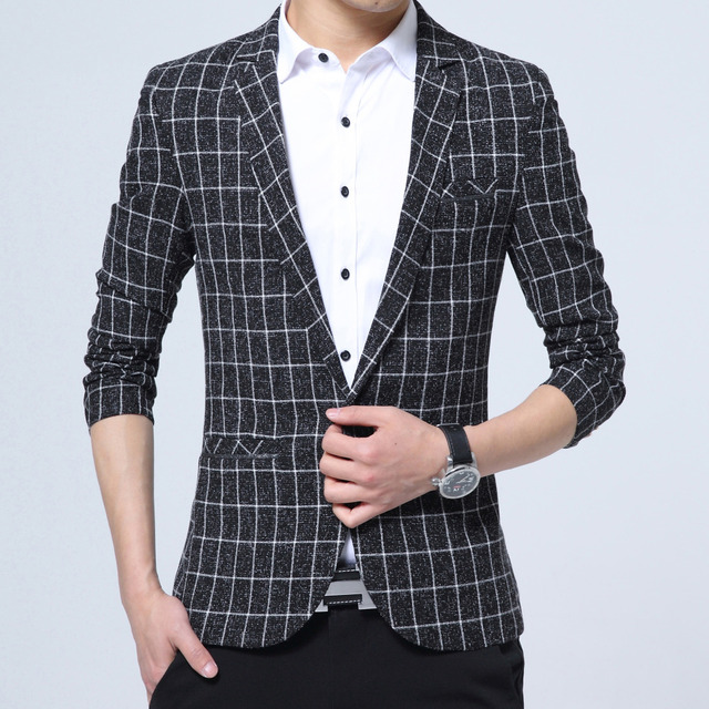 d1f6213d2fc Collections Blazer Men 2018 New Brand Clothing Plaid Suit Jacket Men Slim  Fit Casual Mens Suits Formal Wear Business Party Dress