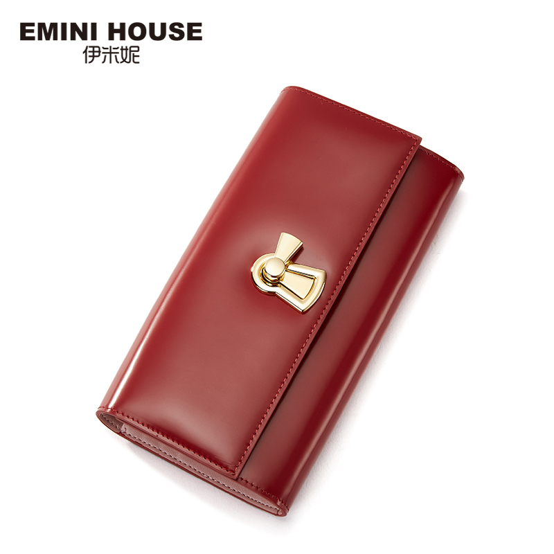 EMINI HOUSE Genuine Leather Women Clutch Wellets Long Wallet With Lock Lady Purse Multifunction Cow Leather Women Coin Purse