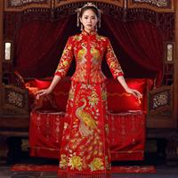 Red Embroidery Women Vintage Cheongsam Peacock&Floral Chinese Wedding Bride Dress Marriage Suit Traditional Qipao Vestidos