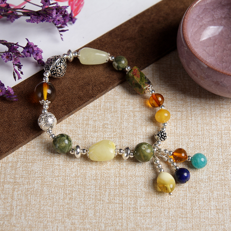 JIUDUO Natural Colorful Amber Beeswax Bracelet Hand With Women Identification Design Factory Direct Special Package Mail