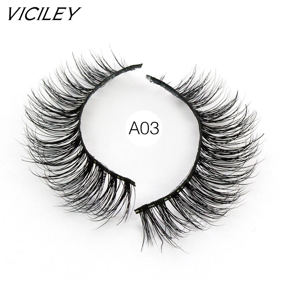 e46ad81d1d2 VICILEY 3D Mink Eyelashes Crossing Mink Lashes Hand Made Full Strip Eye  Lashes 19 Styles New Package cilios naturais A03