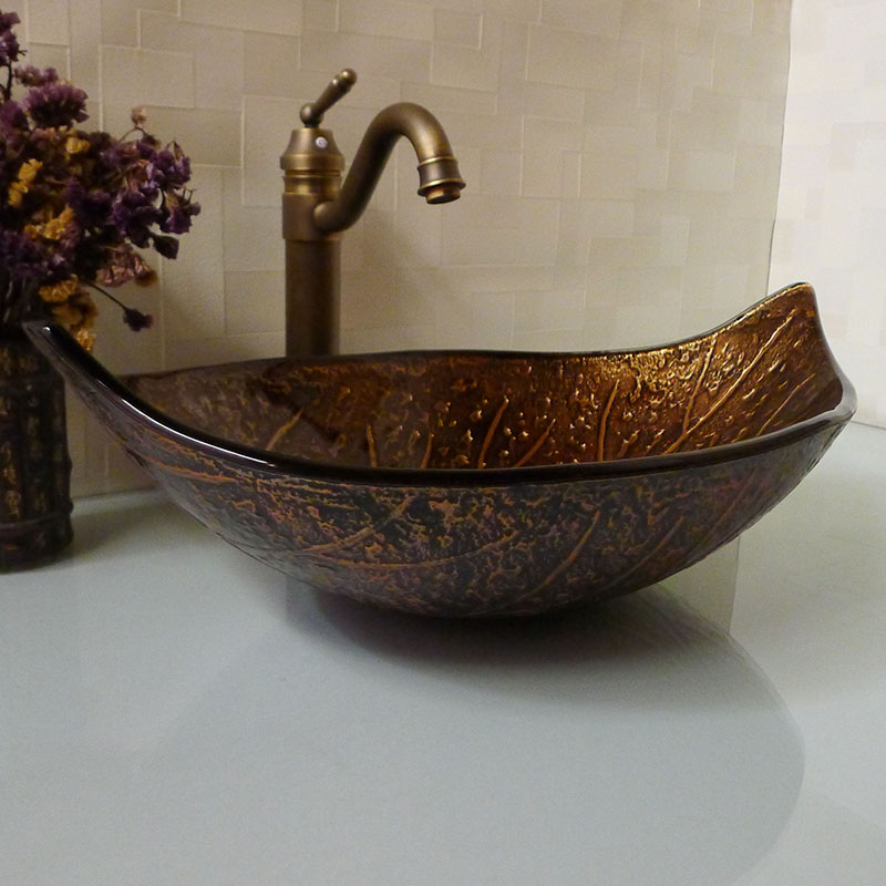 Leaf shape brown cloakroom tempered glass above counter wash basin bathroom antique style for Above counter bathroom sinks glass