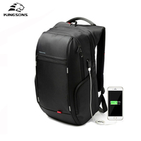 Kingsons 15 To 17 Inch Black Business Water Resistant Polyester Laptop Backpack With USB Charging Port