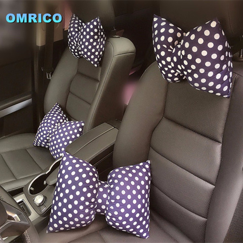 Fashionable Bowknot Car Headrest Neck Pillow Seat Back Support Cushion Waist Pillow for Decorative Women Girls Auto Safety