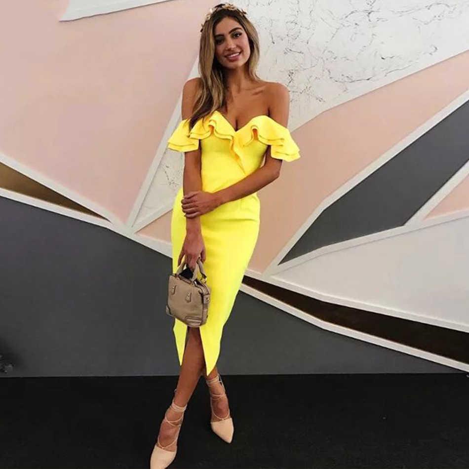 Adyce 2019 новое летнее Сексуальное Женское Бандажное платье с открытыми плечами Vestidos с оборками, с вырезом лодочкой, Клубное платье, платье знаменитостей, платье для вечеринок подиума
