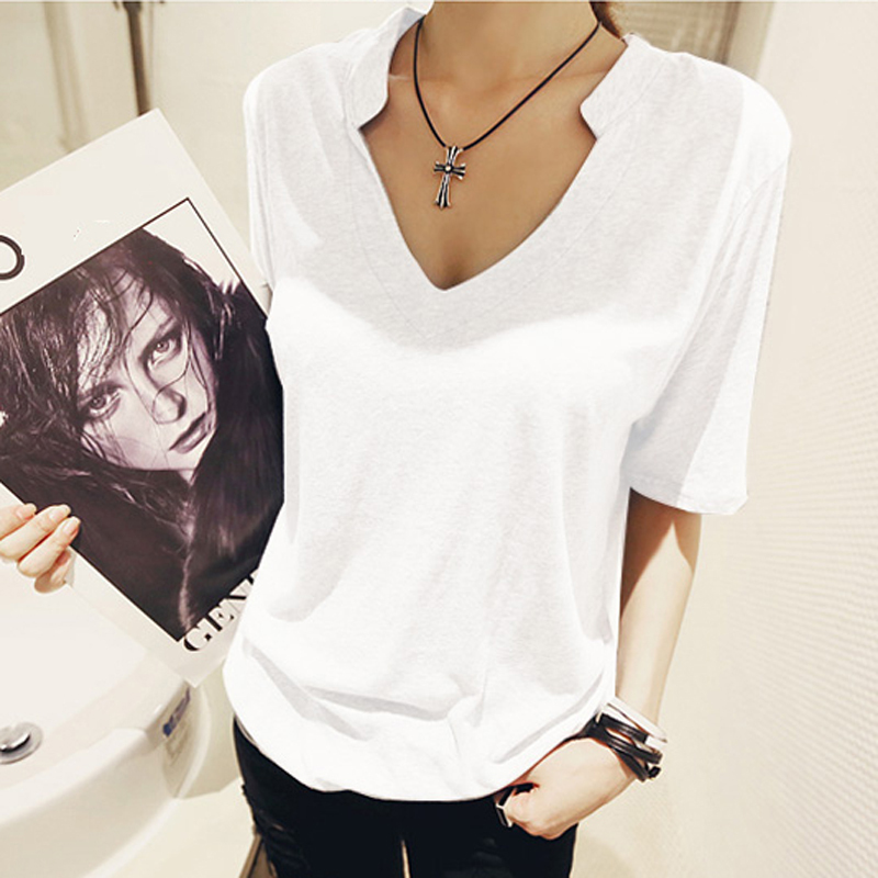 Tee Shirt Femme Deep V Neck T Shirts For Women 2016 Cotton Summer Tops Short Sleeves Fem ...