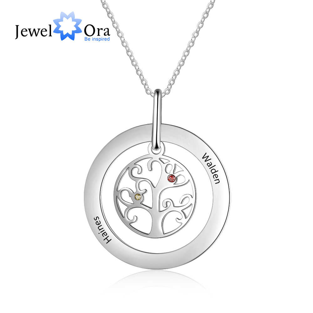 Customized Family Tree of Life Necklace with 2 Birthstones Stainless Steel Personalized Gift for Mother Mom  (JewelOra NE103241)