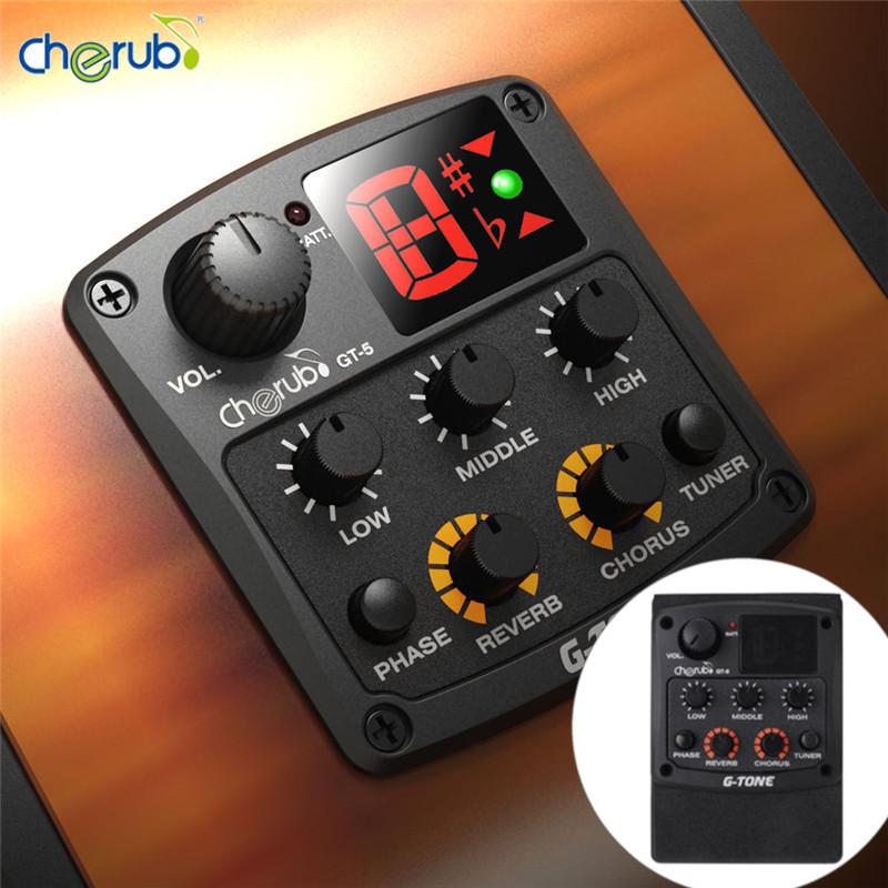 Cherub GT-5 New Acoustic Guitar Preamp Piezo Pickup 3-Band EQ with Built-in Chromatic Tuner and Phase Reverb and Chrous Effects