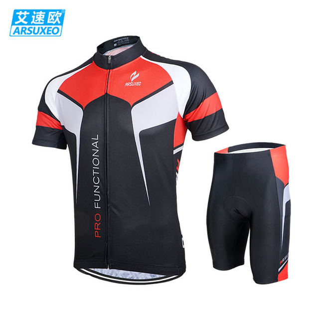 10ab649fb ARSUXEO Men Mountain Road Bike MTB Short Sleeve Jersey + 3D Coolmax Padded  Shorts Breathable Bike Bicycle Cycling Clothing Set