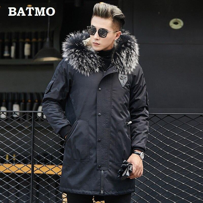 Batmo 2018 nouvelle arrivée d'hiver de haute qualité chaud lapin fourrure doublure capuche bleu veste hommes, raton laveur col de fourrure parkas hommes 1822