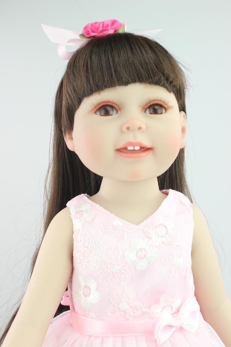Full-Silicone-Baby-font-b-Doll 18 inches American Girl Doll Reborn Dolls Babies Realistic Doll Cute Doll  Handmade Full Vinyl Valentine