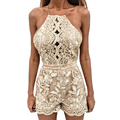 Summer Floral Lace Short Jumpsuit Backless Sleeveless Rompers Womens Jumpsuit Playsuit Beach Party Combinaison Femme Overalls