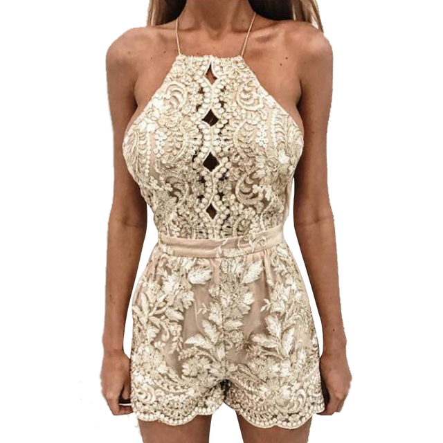 c6c6f16a39 Summer Floral Lace Short Jumpsuit Backless Sleeveless Rompers Womens Jumpsuit  Playsuit Beach Party Combinaison Femme Overalls