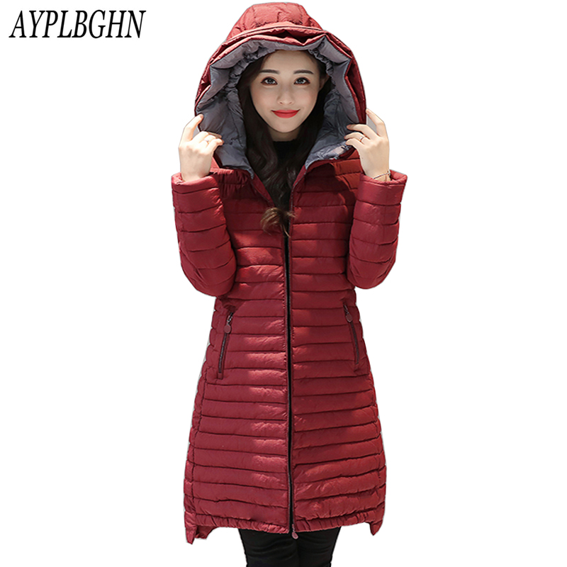 new Autumn And Winter New Female Warm Jacket Women Coat Thin Down Cotton Parka Ultra-light Cotton-padded Jacket Long Outwear
