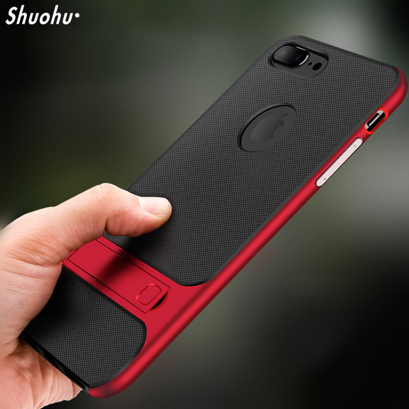 Shuohu Luxury Phone Cases for Iphone X 8 7 Case Silicone Shock Proof Kickstand for Iphone 6 6S 7 8 Plus Case Cover Luxury Brand