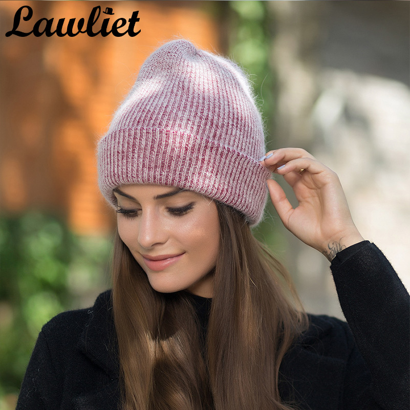 2017 New Winter Women Hats Cashmere Knitted Wool Cap Mink Fur Beanies Hats Warm Cotton Slouchy Hats Ladies Skullies Caps Bonnet skone relogio 9385