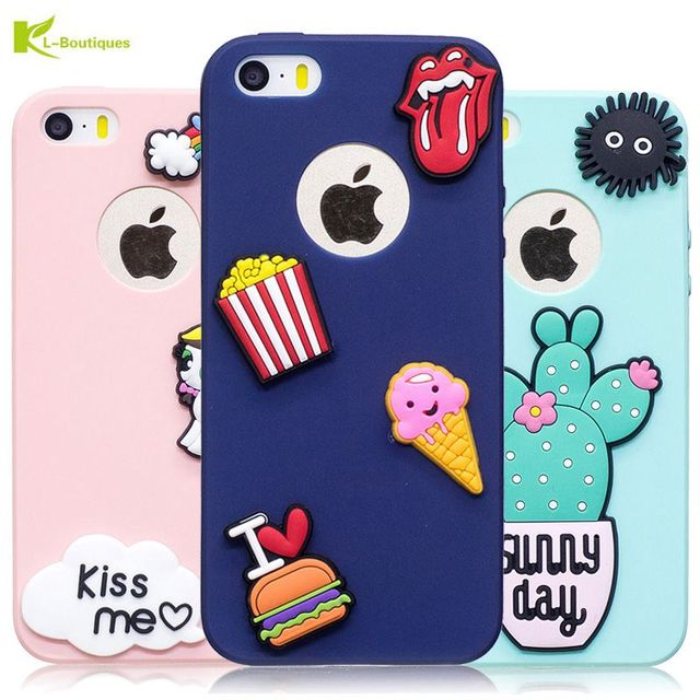 0215efad4b7 Unicorn Ice Cream DIY Case for iPhone 5 Cover for iPhone 5s Cases Candy  Color Cute Cartoon Cactus Daisy Soft Silicon Phone Cases-in Fitted Cases  from ...
