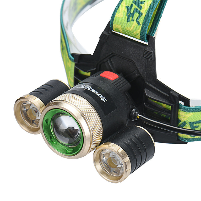High Quality ZOOM 15000Lm Headlamp CREE XM-L 3 x T6 LED Headlight 18650 Light Charger Battery retractable led white light zoom headlight black 3 x aaa or 18650 lithium battery