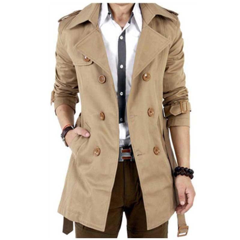 Korean Fashion Trenchcoat Men Trench Casual Slim Jacket Vintage Double Breasted Windbreaker Velvet Coat Man Clothes Plus Size