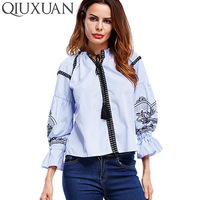 QIUXUAN Size S Women Blouses 2017 Spring Summer Fashion Embroidery Lace Up Three Quarter Sleeve Loose