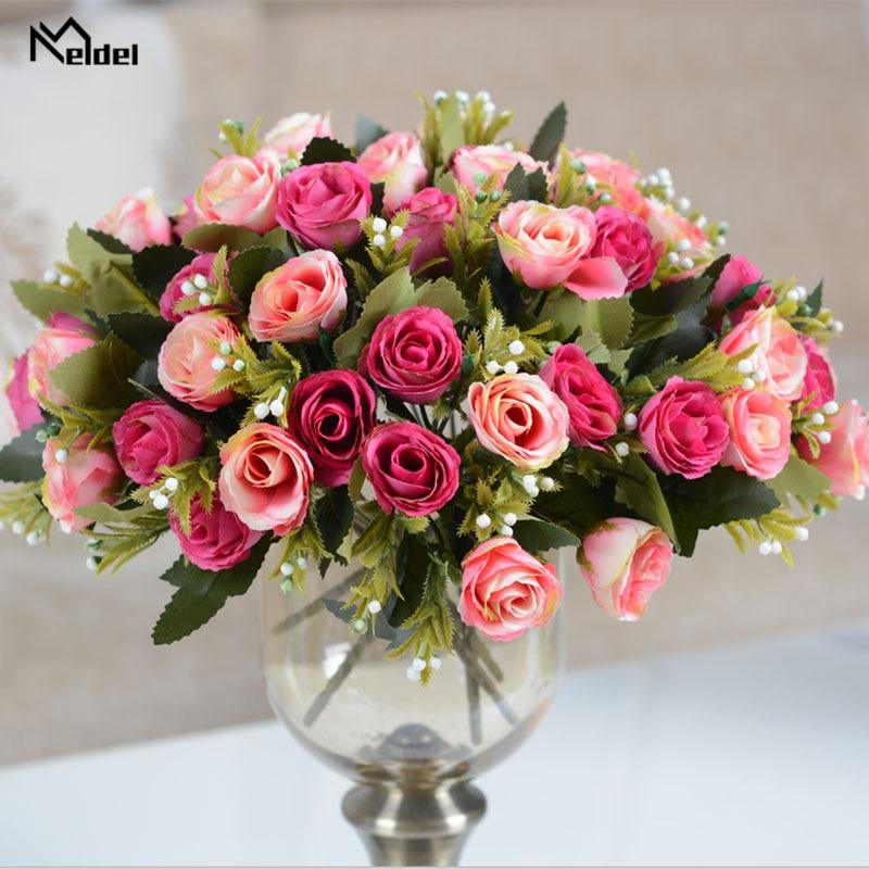 Meldel Bride Rose Bouquet Wedding Supplies Artificial Silk Rose Babysbreath Bouquet Flower Arrangement DIY Home Party Prom Decor