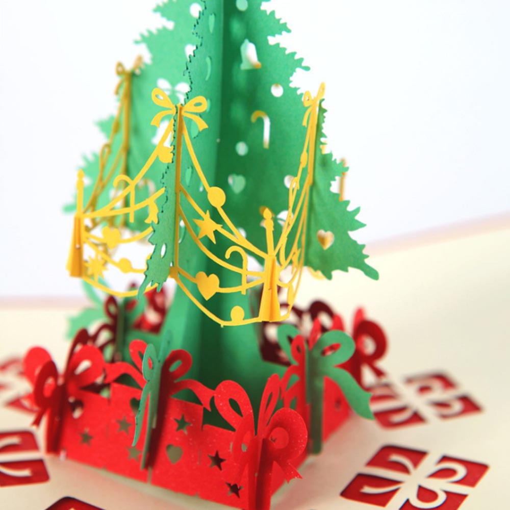 O Christmas Tree Christmas Cards: Merry Christmas Gift Cards 3D Xmas Tree Laser Pop Up