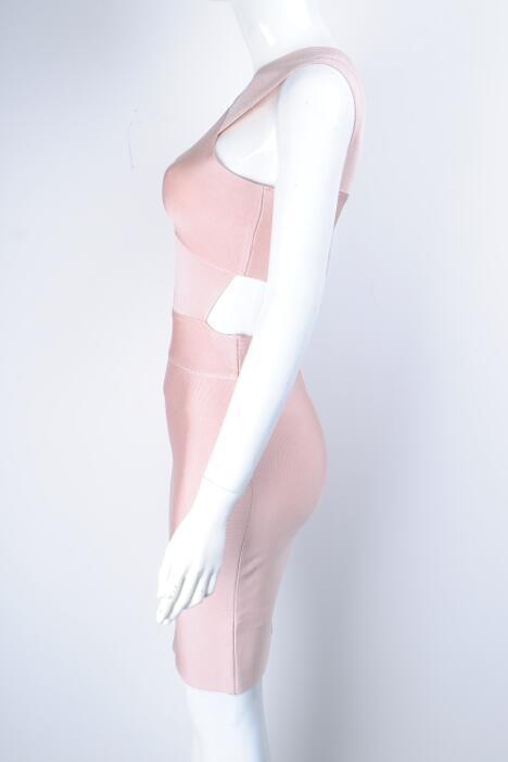 Negro Llegada Nuevos Atractivas De Las Mangas Más 2016 Mujeres La Sin Cruz Vestido Mini Vendaje Masajeadores Estilos rosado Cuello Keyhole Rayón HxfSF6q