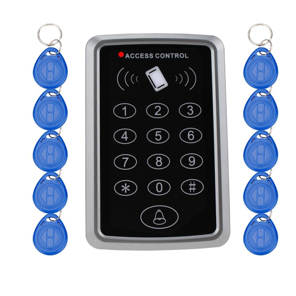 Lector de tarjetas EM con teclado de Control de acceso independiente Rfid, 125KHz, con 10 llaveros, cerradura sin llave para sistema de seguridad de entrada
