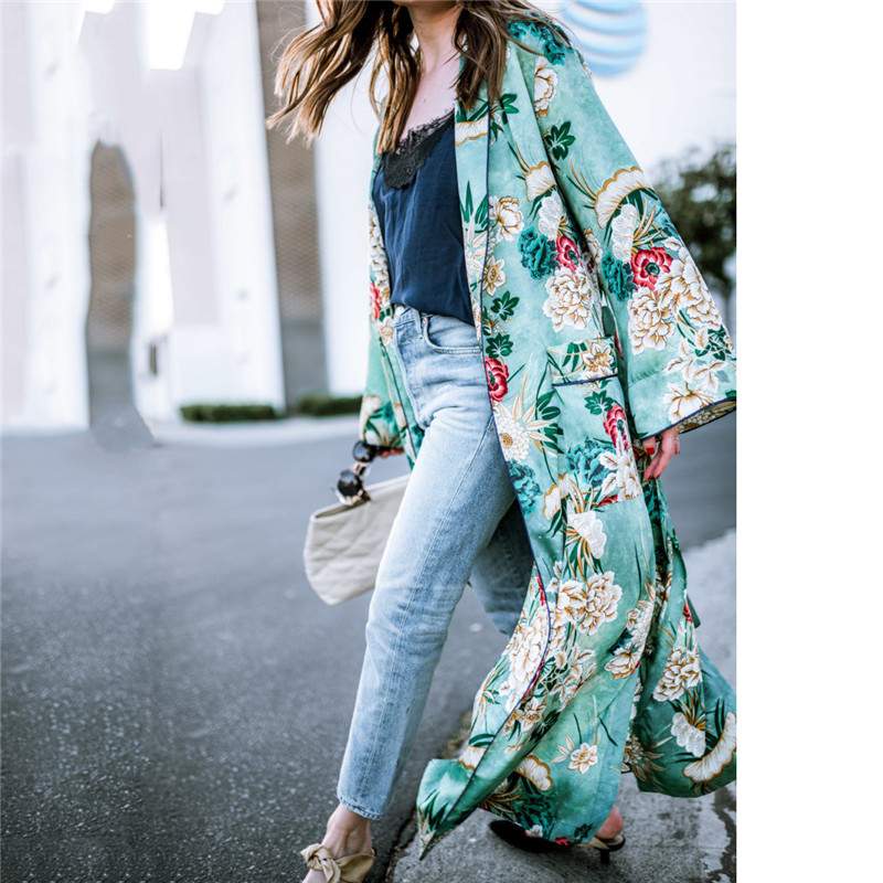 Chiffon Loose Shawl Kimono Long Blouse For Women Full Sleeve Floral Boho Shirts Top Ladies Girls Flower Cardigans Blusa Clothing